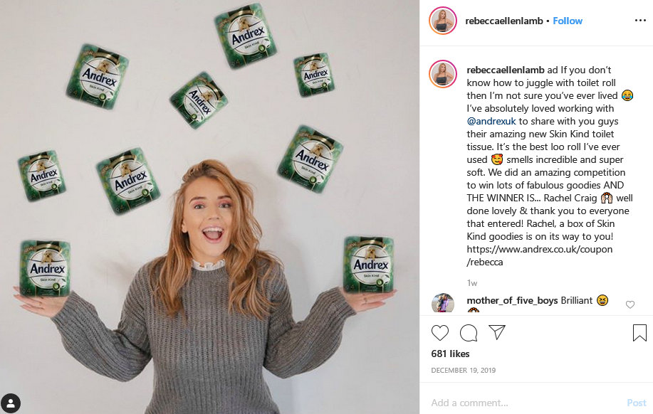 rebecca lamb instagram paid for advert