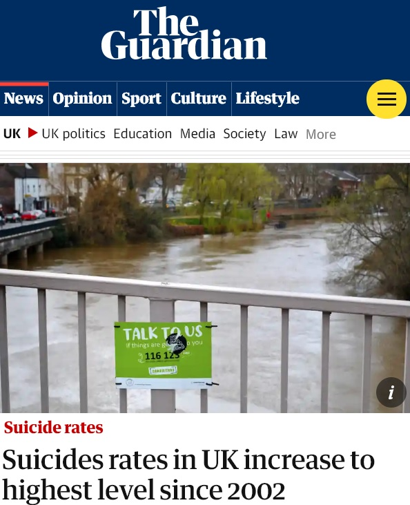 guardian headline about rising suicide rates