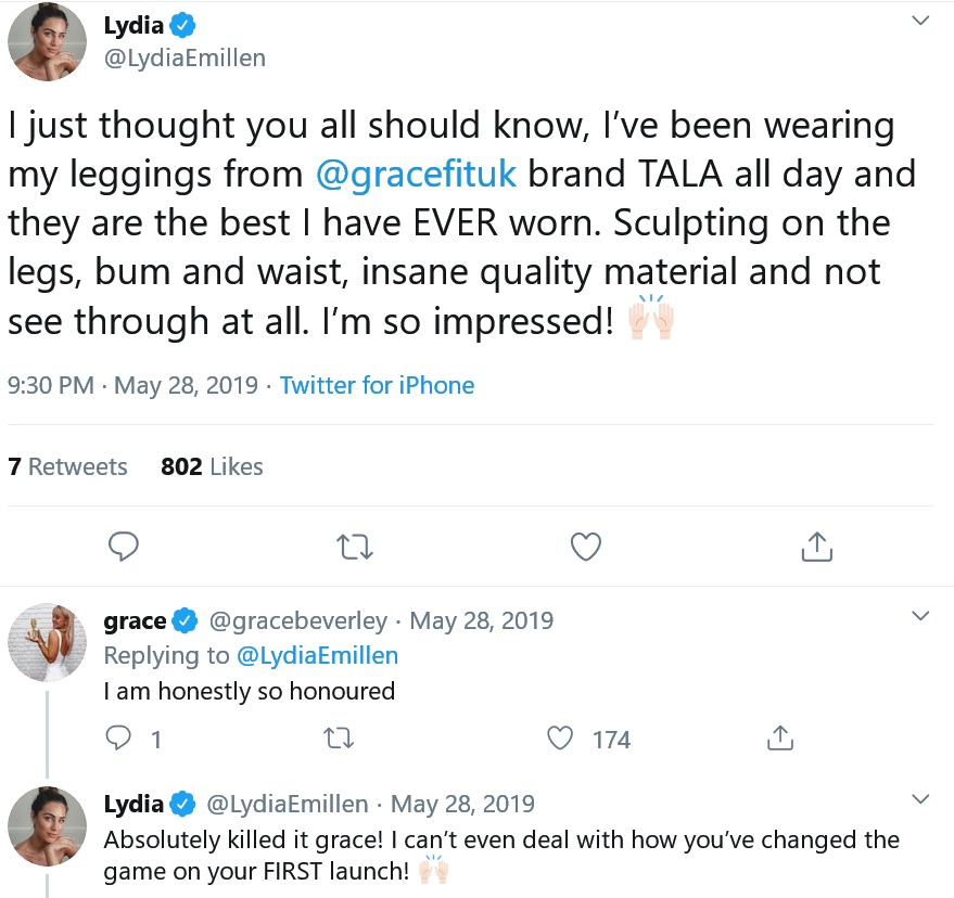 lydia e millen posts promoting grace beverley's tala leggings brand