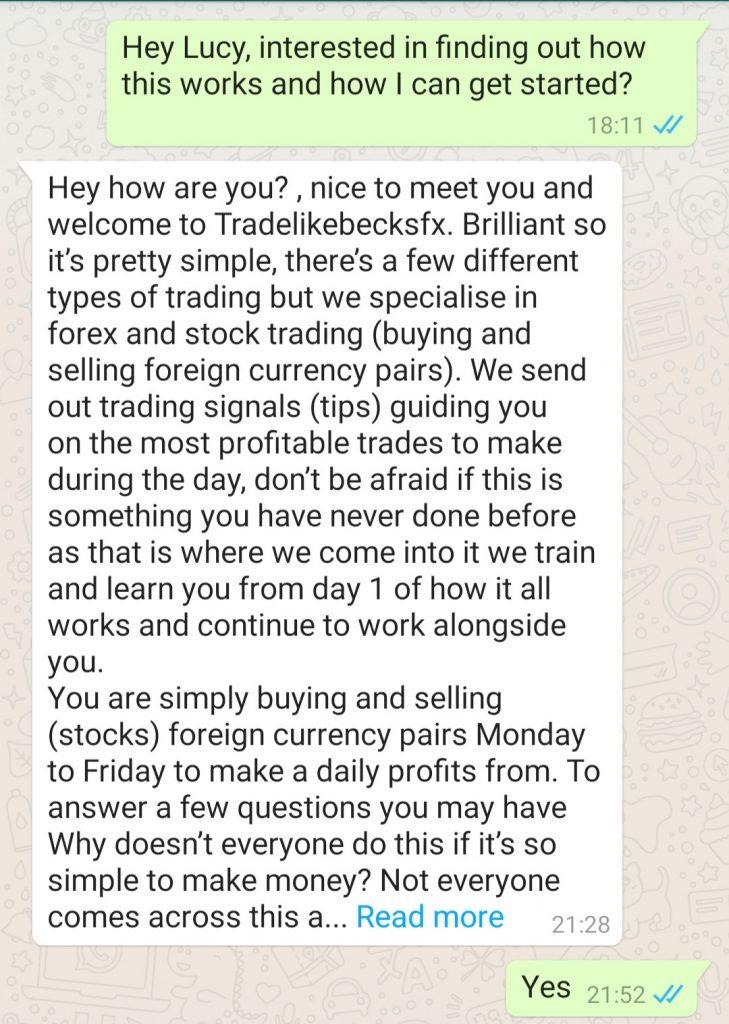trading with becks fx whatsapp conversation