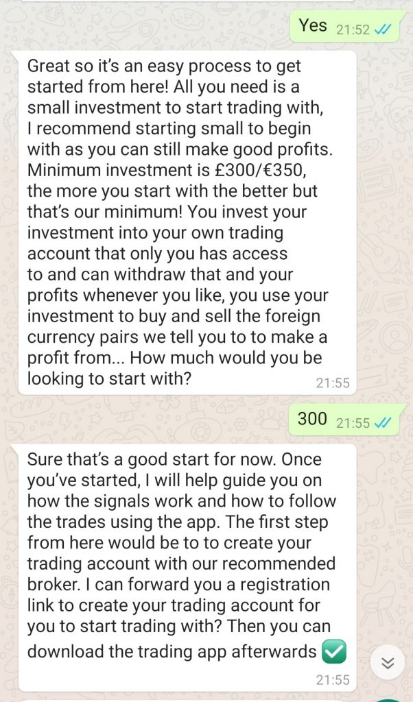 trading with becks fx whatsapp conversation